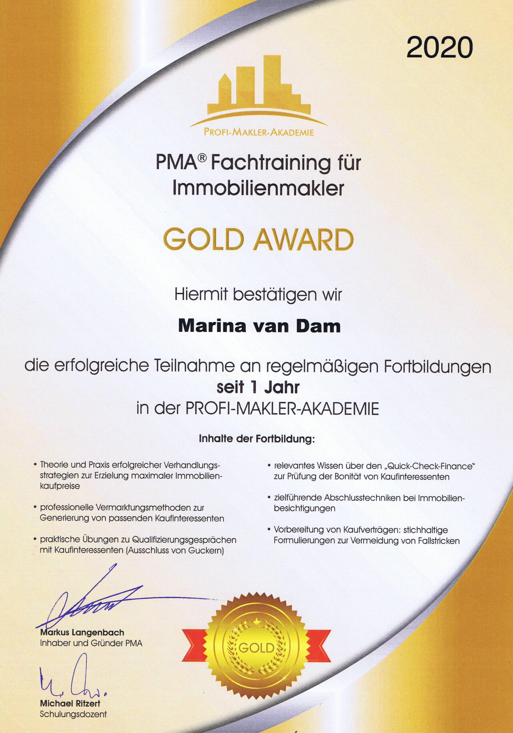 PMA Auszeichnung