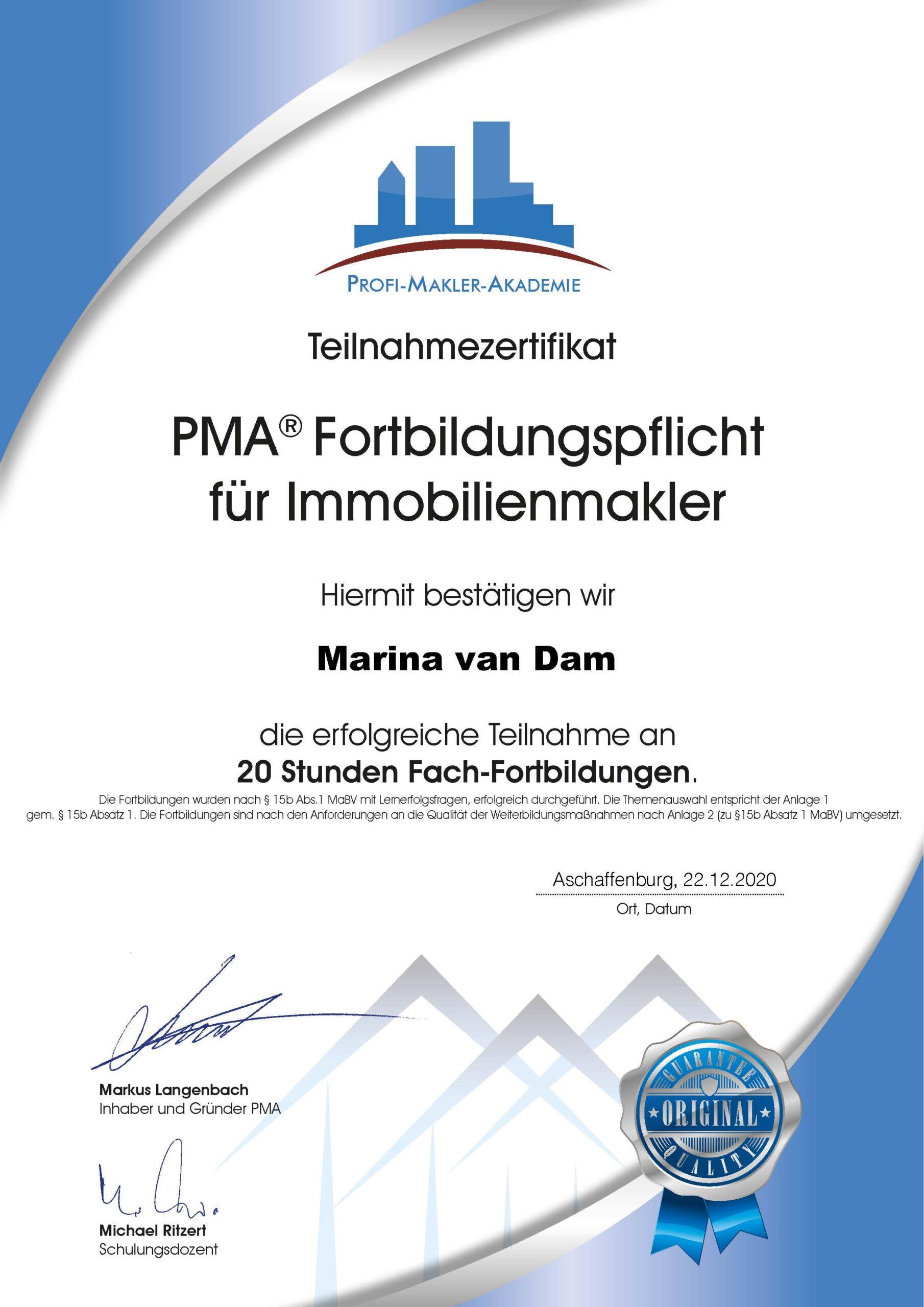 PMA Zertifikat